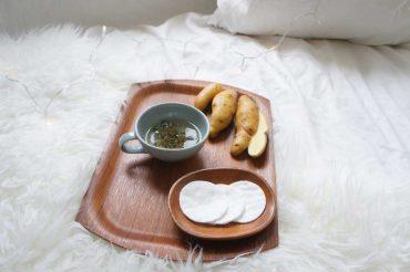 Kartoffel-Nachtpackung für weiche, gereinigte Haut